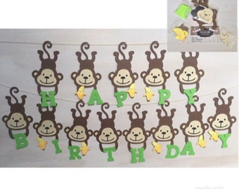 DIY Monkey birthday banner, Safari birthday banner, Monkey birthday party, Banana banner, jungle themed birthday party, monkey themed party