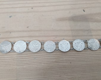 vintage sterling silver seven coin three penny piece bracelet