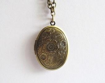 Antique Style Locket Necklace, Oval Locket Necklace
