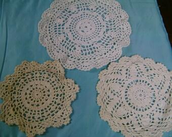 Crochet Doilies Vintage Set of 3 Gorgeous