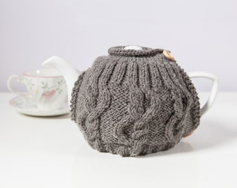 Grey Hand-Knit Tea Cozy / Teapot Cosy