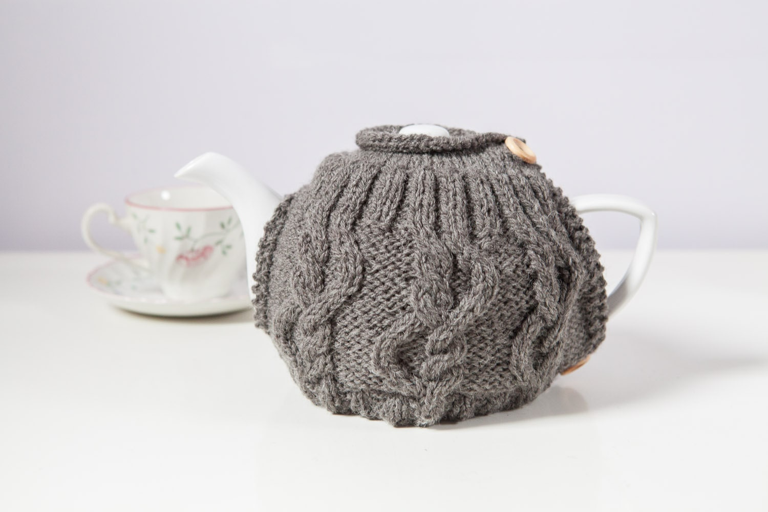 Hand Knitted Tea Cosy Patterns : Grey hand knit tea cosy Teapot cosy Wool tea cosy by SweetMaya