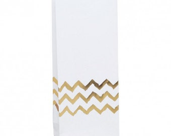 Metallic Gold Chevron Paper Gift Bags - Set of 12 - party, celebration, wedding, event, birthday