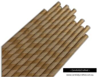 Paper Straws - Kraft - Stripe - Set of 25 (19.5cm x 0.6cm) #PS66