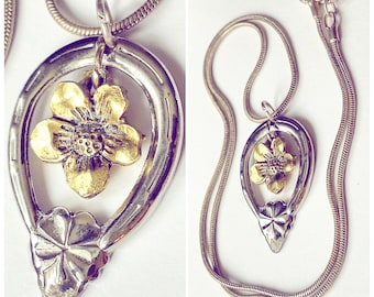 Vintage Flower Charm Necklace - Mixed Metal