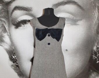 Vintage 80's tweed velvet bow shift dress audrey