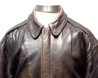 AVIREX A-2 Vintage Brown Leather Patriotic Bomber Jacket Men's Size M