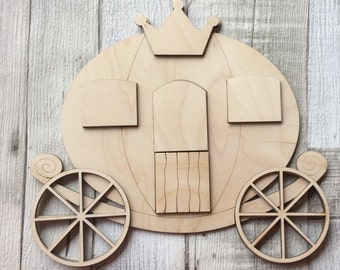 NEW Large 3d wood fairy princess Cinderella carriage