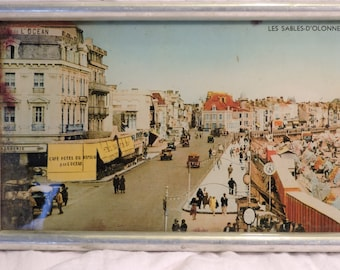 Vintage Photograph  Framed - French Town Portrait -  1920s French Seaside Scene -  Early 1900s Les Sables d'Olonne Colour Photograph