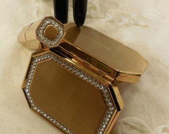 Beautiful Vintage Avon Rhinestone Compact and Lipstick Holder