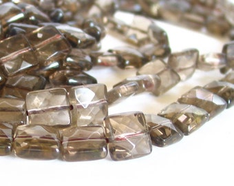 "15"" Smoky Quartz 10mm FACETED square pillow beads gemstone - Light Gray - full strand"