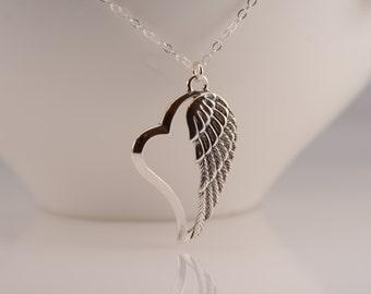 Angel wing pendant. Heart angel wing long necklace. Angel wing long necklace