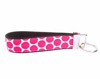 Hot Pink Polka Dot Personalized Key Fob