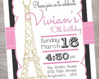 Paris theme  Birthday Party invitation printable