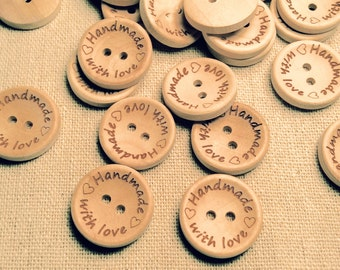 "5-Buttons,""Handmade with Love"", Wood, Wooden,"