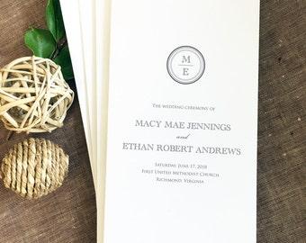 Macy Monogram Wedding Program, Modern Wedding Programs, Order of Service, Folded Program, Printed Wedding Programs