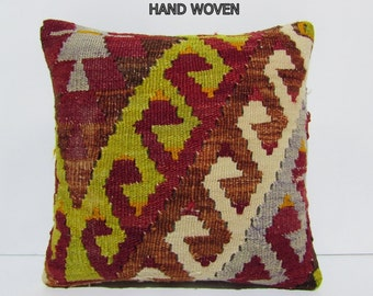 16x16 throw pillow kilim decoration pillow accent pillow handwoven pillow embroidered cushion cover sofa throw pillow unique pillow D113