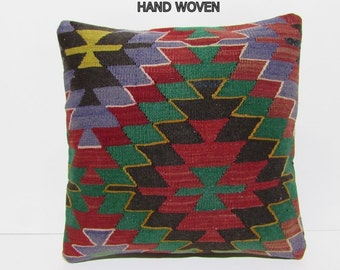 HANDWOVEN pillow 20x20 pillow case colorful embroidery pillow large throw pillow big pillow cover large tapestry red kilim pillow sham B1026