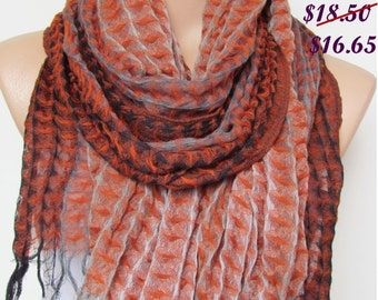 Orange  and Gray Long Scarf -Shawl Scarf-New Season-Necklace-Cowl- Neckwarmer- Infinity Scarf-Mother's Day Gift