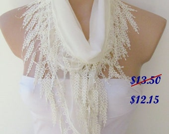 ON SALE - Cream Scarf With Fringe-Winter Fashion Scarf-Headband-Necklace- Infinity Scarf- Winter Accessory-Long Scarf