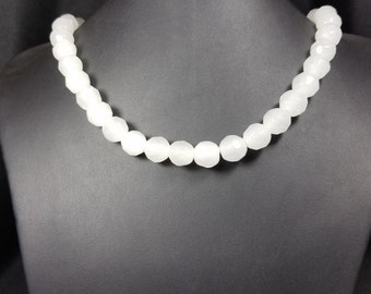 14mm White Crystal Bead Necklace