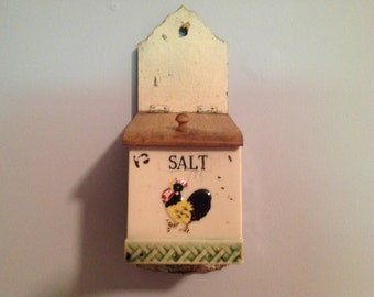 Primitive Ceramic Salt Box with Rooster
