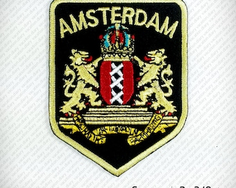 AMSTERDAM Coat of arms Patch Embroidered Iron on. D.I.Y Decorate Clothes Funny Hobby, (W)6 x (H)7.7 cm.