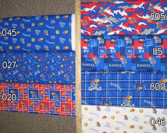 NCAA University of Kansas Red & Blue College Cotton Fabric by Sykel! Rock Chalk Jayhawk!! [Choose Your Cut Size]