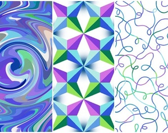 Just Trippin' Blue Psychedelic Swirls, Gems, Squiggles Cotton Fabric! [Choose Your Cut Size]