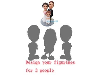 fully personalized for 3 - custom wedding cake topper  (Free Shipping Worldwide)