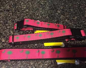 Pink Palmetto Dog Collar