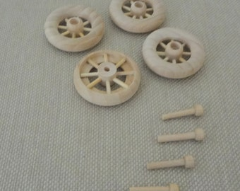 Set of 4 New Wood Wooden Spoked Wheels with Miniature Hub Axle