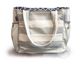 Grey and natural striped canvas and navy quatrefoil striped diaper bag / striped knitting bag / striped tote bag