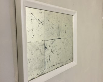 White Bole Frame with reverse glass gilding (verre eglomisé), charcoal background
