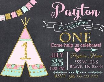 Teepee Birthday Party Invitation, Aztec Invitation, Feather Invitation Digital File 5x7 or 4x6
