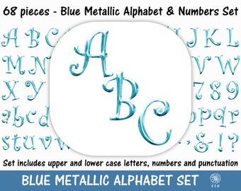 Blue Metallic Digital Alphabet and Numbers Clipart Set - curly font style - Commercial Use - Instant Download (A003)