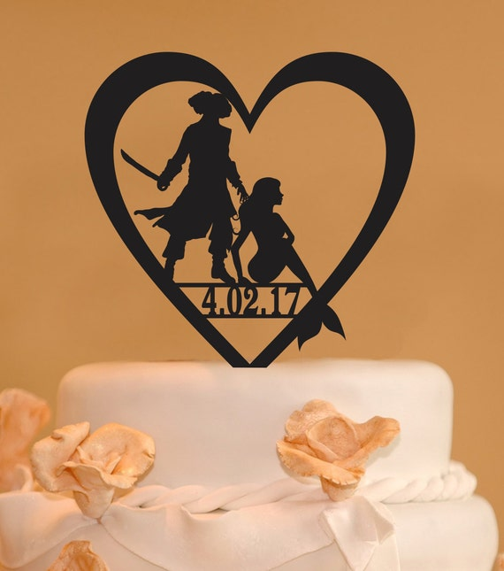 Pirate Wedding Cake Topper And Mermaid