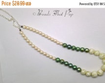 ON SALE - 30% Ivory Mother of Pearl Chunky Statement Necklace, Green Freshwater Pearl Necklace, Statement Necklace, Handmade!, One-of-a-kind