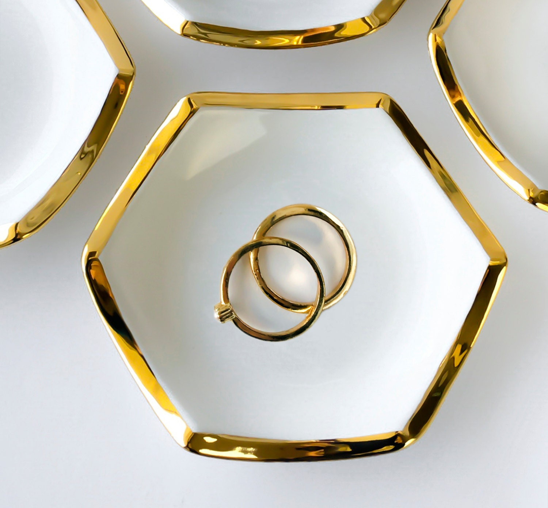 hexagon jewelry dish white and gold ring holder wedding