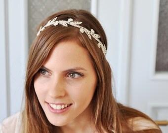 Bridal Leaf Headband, Swarovski Leaf Headband , Wedding Leaf Headband, WEDDING WOODLAND HEADBAND