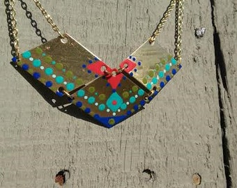 Hand Painted Polished Brass Geometric Bib Necklace