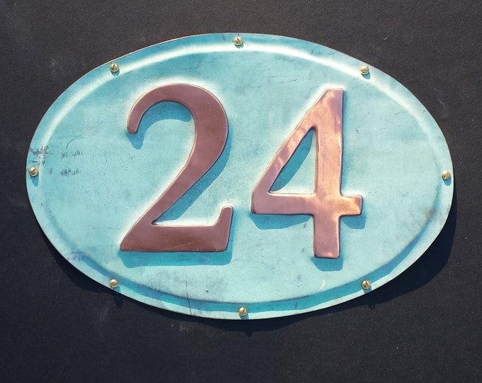 "Oval House plaque 3""/75,4""/100,6/150mm in patinated copper,  2 x nos. polished and laquered o"