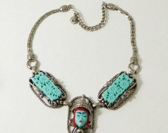 SUMMER SALE Vintage Selro Selini Asian Princess/Thai Girl Molded Green Glass Necklace