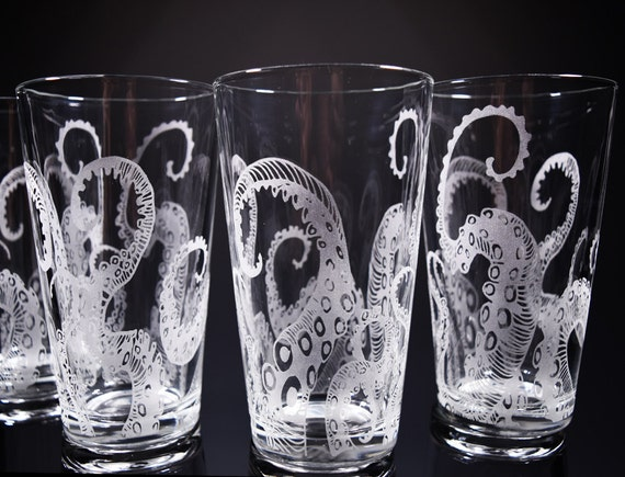 Octopus Tentacles Drinking Glass Glassware Set Kraken