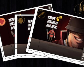 Personalized Printable TF2 goody bags, team fortress 2, goody, bag, birthday, party, team fortress