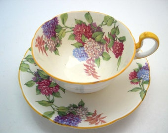 Antique Aynsley Hydrangea Tea Cup And Saucer, English tea cup set, Yellow teacup and saucer.