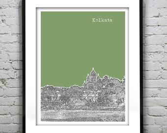 Kolkata Calcutta Skyline Poster Art Print India