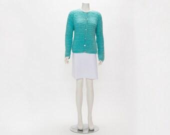 turquoise blue knit cardigan sweater vintage 1960s • Revival Vintage Boutique