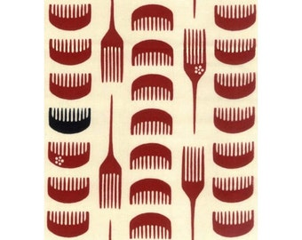 RIENZOME Cotton Tenugui Cloth with Patterns of Red Boxwood Combs 216 (3003364)