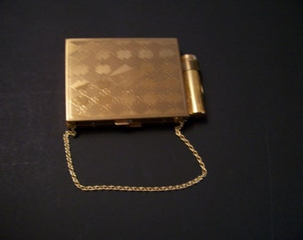Vintage Brass  Compact Purse/ Cigarette Case w lipstick holder